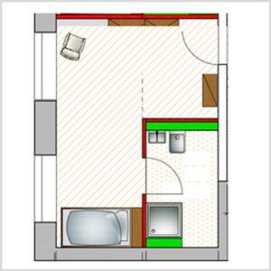 Grundriss barrierefreies Einzel Apartment